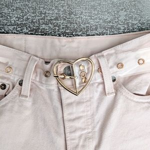 NEW Belt Clear Heart Buckle Gold Plastic Cute